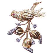 ESTATE 1960s 14K Gold, 1.72CT TW Diamond & Ruby Pin/Brooch - Bird on a Branch!