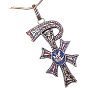 ANTIQUE VICTORIAN Italian 800/900 Silver & Micromosaic Religious Cross Pendant - PAX!