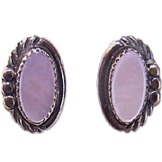 Vintage NATIVE AMERICAN Sterling Silver & Pink Mother of Pearl Pierced Earrings!