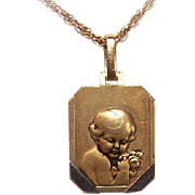 Art Deco FRENCH 18K Gold Filled (ORIA) Baby Medal or Baby Charm - For the Newborn!