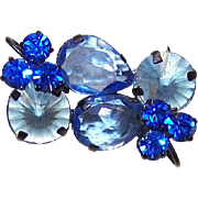 Retro Modern AUSTRIAN Black Metal & Blue Rhinestone Pin!