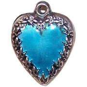 Vintage STERLING SILVER & Blue Enamel Puffy Heart Charm!
