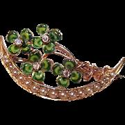 ANTIQUE VICTORIAN 14K Gold, Diamond, Enamel & Natural Pearl 4 Leaf Clover Pin by Krementz!