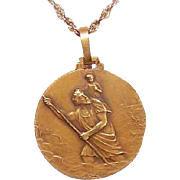 C.1930 FRENCH 18K Gold Religious Medal by Mazzoni - Saint Christopher * St Christopher!