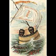 VICTORIAN Trade Card for Pillsbury Best Flour - 2 Black Babies in a Wooden Barrel!