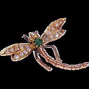 Art Nouveau 10K Gold, White Sapphire & Tourmaline DRAGONFLY Pin!