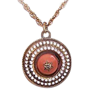 ANTIQUE VICTORIAN 9K Gold, Diamond, Coral & Enamel Pendant or Charm!