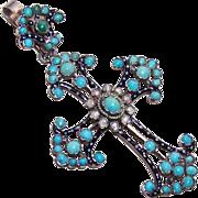 C.1890 Austro-Hungarian SILVER, Enamel, Pearl & Persian Turquoise Cross Pendant!