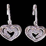Vintage STERLING SILVER & Diamond Drop Earrings - Hearts!