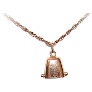 Vintage FRENCH 18K Gold Mechanical Charm - Small Bell with a Lovely Tinkle!