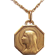 C.1930 FRENCH 18K Gold Religious Medal by Ruffony - Holy Virgin Mary!