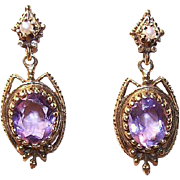 VICTORIAN REVIVAL 14K Gold, Cultured Pearl & 6 CT TW Amethyst Drop Earrings!