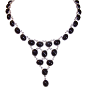 Vintage STERLING SILVER & Black Onyx Drop Necklace!