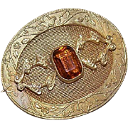 ANTIQUE EDWARDIAN Gilt Metal & Citrine Rhinestone Paste Pin!