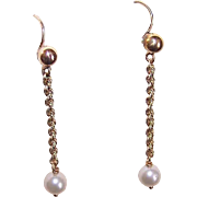 Vintage 14K Gold & Cultured Pearl Drop Earrings!