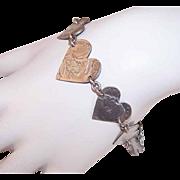 "WORLD WAR II Coin Silver ""Trench Art"" Bracelet - Graduated Hearts!"