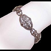 Art Deco STERLING SILVER & Marcasite Link Bracelet - Made in Germany!