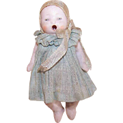 Vintage MADE IN GERMANY Bisque Porcelain Dollhouse Baby Doll * Open Mouthed * Original Clothes!