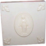 Vintage Plastic ROSARY Container - Miraculous Medal Front with Corner Florals!