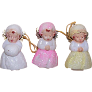 Set/3 MADE IN JAPAN Plastic Christmas Ornaments - Snow Baby Angels!