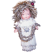 """Vintage Bisque """"Penny Doll"""" * Dressed in Crepe & Tinsel * Christmas Pick!"""