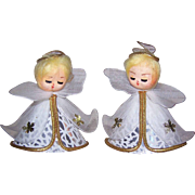 Pr 1960s MADE IN JAPAN Christmas Ornaments - Angels with Gold Hair