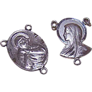 2 Dif STERLING SILVER Religious Center Medals for a Rosary - Virgin Mary Fronts - Jesus Backs