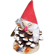 C.1960 MADE IN JAPAN Spun Cotton Face, Chenille & Pine Cone ELF - Holds a Christmas Stocking!
