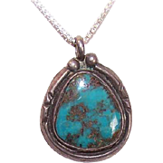 Vintage NATIVE AMERICAN - Southwestern Sterling Silver and Kingman Turquoise Pendant