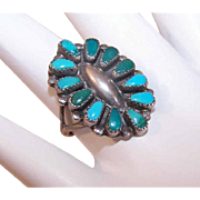 Vintage NATIVE AMERICAN - Zuni Sterling Silver and Turquoise Ring - Multi Stones
