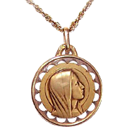 C.1930 FRENCH 18K Gold Religious Medal - Holy Virgin Mary