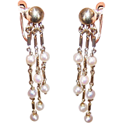 Vintage 14K Gold and Cultured Pearl Drop Earrings - Screwback Findings