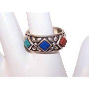 Vintage STERLING SILVER and Fashion Ring - Lapis Lazuli, Jasper and Turquoise