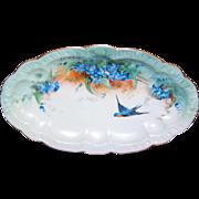 Vintage Handpainted Bavarian PORCELAIN Tidbit Dish or Bowl - Blue Bird with Blue Forget Me Nots