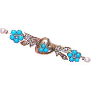 ANTIQUE VICTORIAN 14K Gold, Rose Cut Diamond, Turquoise & Natural Pearl Sweetheart Pin or Brooch
