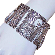VINTAGE Peruvian 900 Silver Link Bracelet - Large Width With Llamas and More