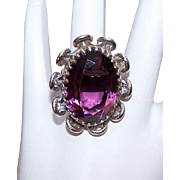 Vintage STERLING SILVER and Amethyst Glass Paste Fashion Ring