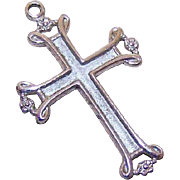 Vintage STERLING SILVER Religious Cross Pendant - Plain & Simple - No Ornate Design