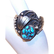 Vintage STERLING SILVER & Turquoise Nugget Ring - Ring Size 12-3/4