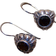 Vintage Sterling Silver & 4CT TW Smoky Quartz Earrings - Pierced - Shepherd Hooks