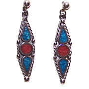 Vintage NATIVE AMERICAN Sterling Silver and Inlaid Turquoise & Coral Drop Earrings - Posts With Nuts