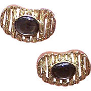 RETRO MODERN 14K Gold & Black Mother of Pearl Cufflinks - A Solid 16.6 Grams the Pair