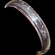Vintage English STERLING SILVER Hinged Bangle Bracelet - Lightly Etched Leaf Top