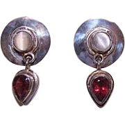 Vintage SAJEN Sterling Silver, Moonstone & Garnet Earrings - Lovely Drops for Pierced Ears