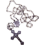 Vintage STERLING SILVER & Crystal Rosary by Mill Mark - Fleur de Lis Design on Crucifix