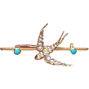 ANTIQUE EDWARDIAN 14K Gold, Natural Pearl & Persian Turquoise Pin - Flying Swallow or Hirondelle