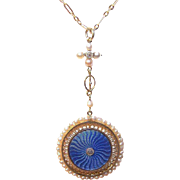 BELLE EPOCH French 18K Gold, Diamond, Enamel & Natural Pearl Locket Pendant with Chain