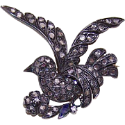 Vintage 14K Gold, Silver & 2CT TW Rose Cut Diamond Pin - Dove of Peace - Saint Esprit