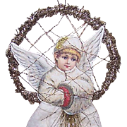 Vintage CHRISTMAS Ornament - Angel Die Cut, Cotton Batting & Gold Tinsel