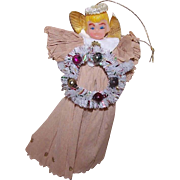 Vintage CHRISTMAS Ornament - An Angel of Plastic, Crepe Paper and Bottle Brush